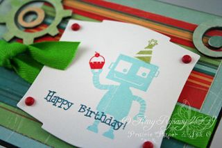 MCS Happy Birthday Robot Card Closeup by AmyR