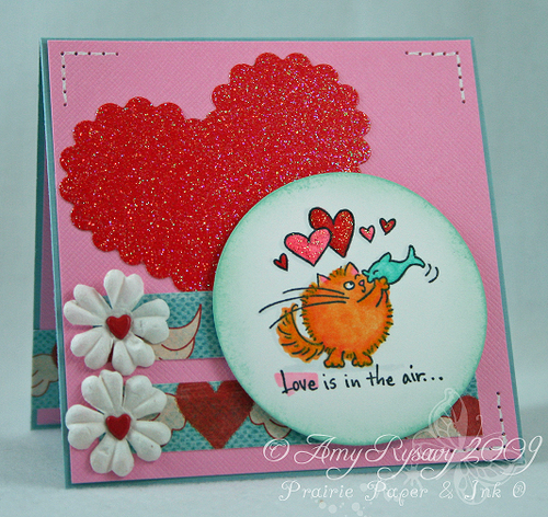 Fluffles Love is in the air card by AmyR