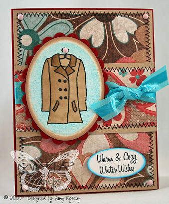 AmyR Stamps Warm and Cozy Coat Card by AmyR