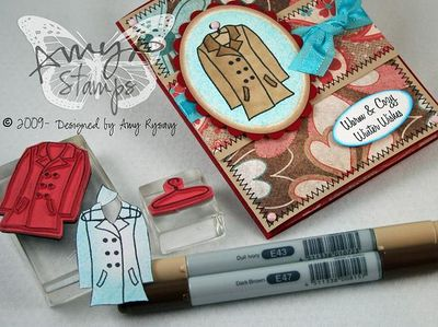 AmyR Stamps Warm and Cozy Coat Card Copics by AmyR