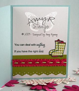 AmyR Stamps Thinking of You Rubber Boots Card Inside by AmyR