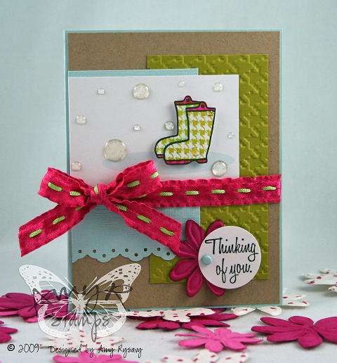 AmyR Stamps Thinking of You Rubber Boots Card by AmyR