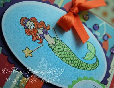 Bella mermaid magical day card closeup by AmyR
