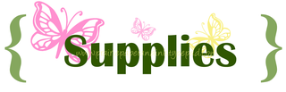 Supplies green yellow pink