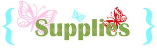 Supplies green pink red aqua