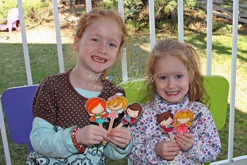 Girls with their new Anya Puppets