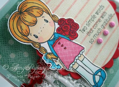 CCD Swiss Miss Rosalie with Roses TY Card Closeup by AmyR