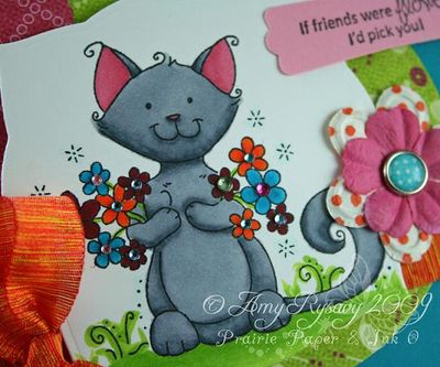 WRS Friendly Flower Cat Card Closeup by AmyR