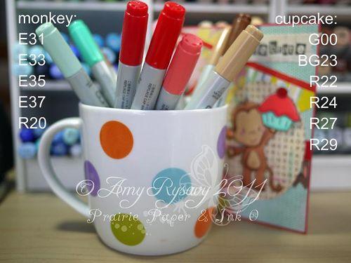 CCD Bday Monkey TTC Card Copics by AmyR