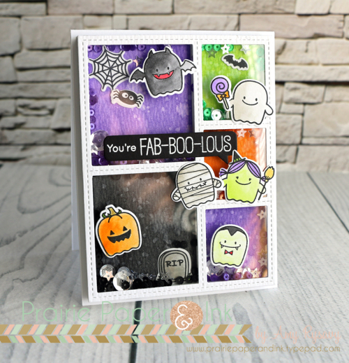 76b64166 I just had to make a shaker card with all these little MFT Fab-BOO-Lous  Friends characters. I showed in the previous post/video how I'd stamped and  coloured ...
