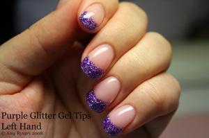 Purple Glitter Gel Tips Left Hand Right Glittersmileys
